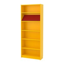 BILLY / BOTTNA bookcase with display shelf, yellow, red