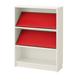 BILLY / BOTTNA bookcase with display shelf, white, red