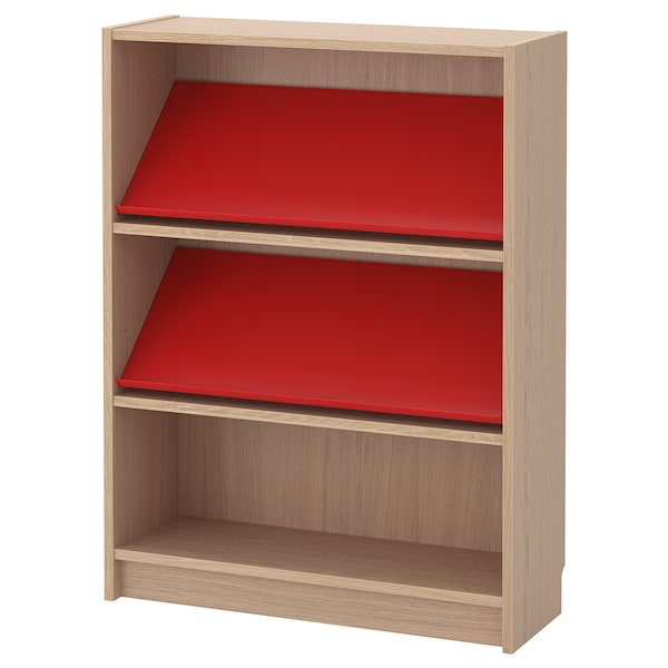 Surprising Bookcase With Display Shelf Billy Bottna White Stained Oak Veneer Red Download Free Architecture Designs Intelgarnamadebymaigaardcom