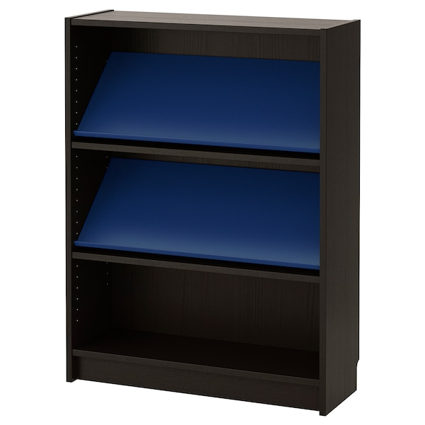 buy online 96a73 dd8a2 Bookcase with display shelf BILLY / BOTTNA black-brown, blue