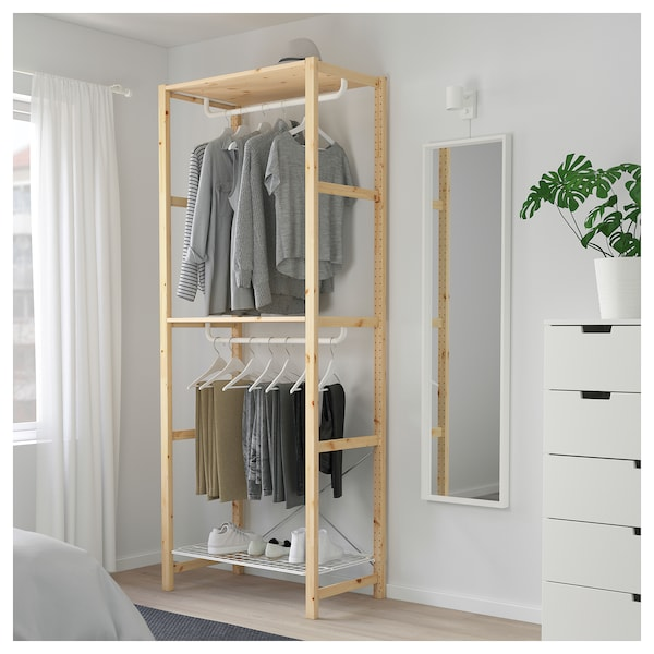 Ivar Shelving Unit With Clothes Rail Ikea