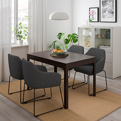 EKEDALEN /  TOSSBERG table and 4 chairs, dark brown metal, grey
