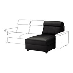 LIDHULT chaise longue section, Grann/Bomstad black