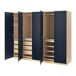 PAX wardrobe, white stained oak effect, Hamnås black-blue