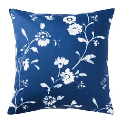 BLÅGRAN cushion cover, blue, white