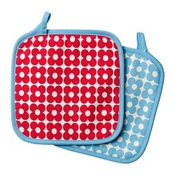 SOMMAR 2019 pot holder, patterned blue, red