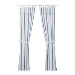 GULSPARV curtains with tie-backs, 1 pair, stripe blue, white