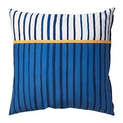 SÅNGLÄRKA cushion, stripe, blue orange