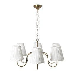 ESARP chandelier, 6-armed, brass-colour, fabric