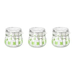 SOMMAR 2019 jar with lid, glass, patterned green