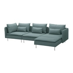 SÖDERHAMN sectional, 4-seat, with chaise, Finnsta turquoise