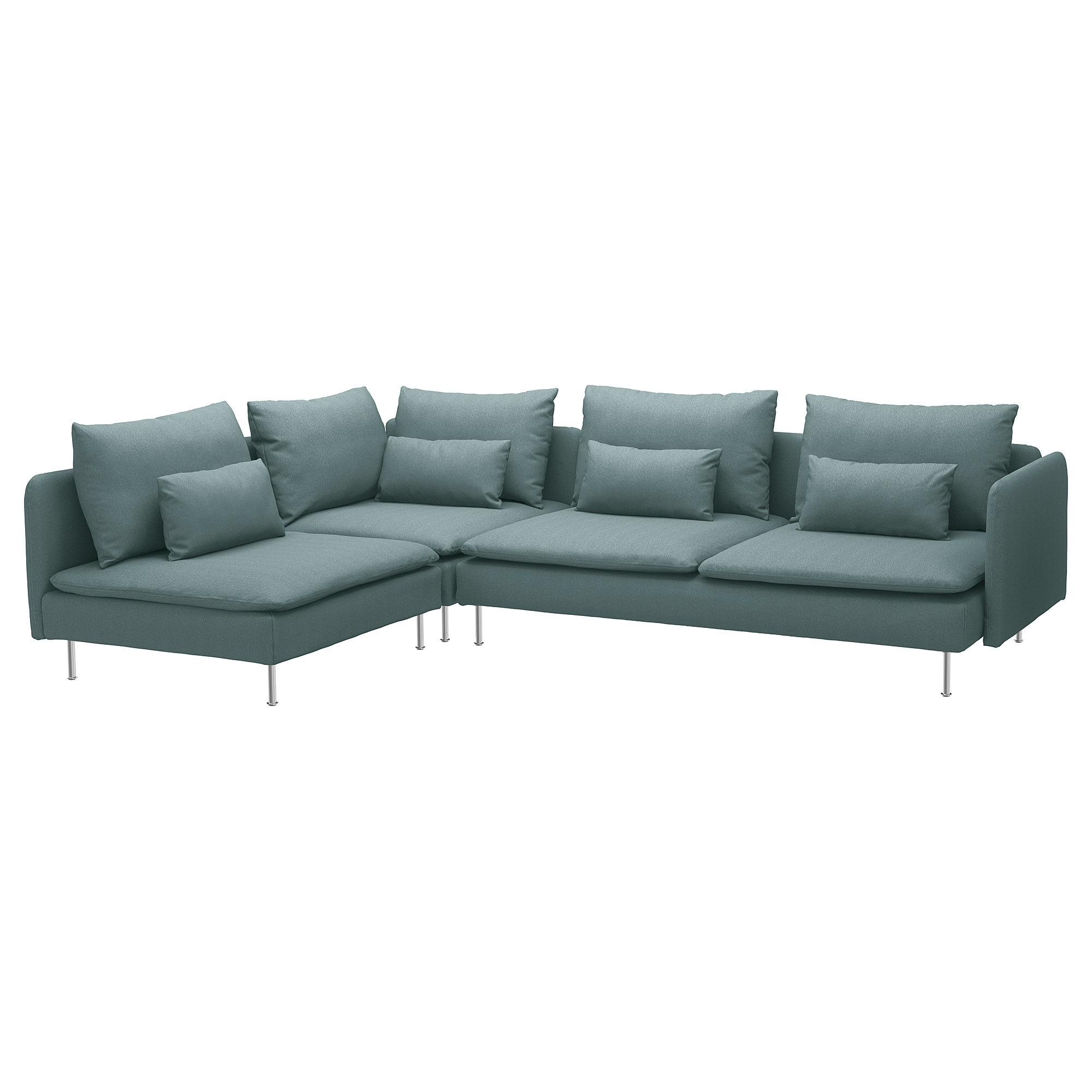 Sectional, 4-seat corner SÖDERHAMN with open end, Finnsta turquoise