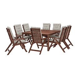 ÄPPLARÖ table+8 reclining chairs, outdoor, brown stained, Kuddarna grey