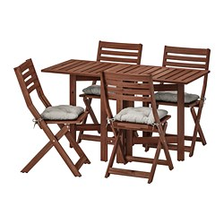 ÄPPLARÖ table and 4 folding chairs, outdoor, brown stained, Kuddarna gray