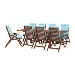 ÄPPLARÖ table+8 reclining chairs, outdoor, brown stained, Kuddarna light blue