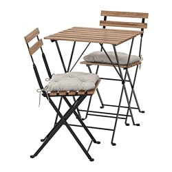 TÄRNÖ table+2 chairs, outdoor, black-brown stained black/gray-brown stained, Kuddarna gray