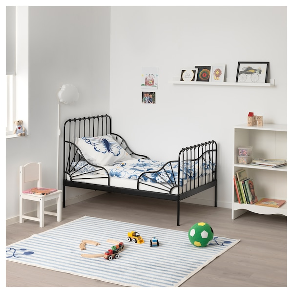 Letto Alto Ikea.Ext Bed Frame With Slatted Bed Base Minnen Black