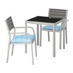 SJÄLLAND table+2 armchairs, outdoor, glass, Kuddarna light blue blue