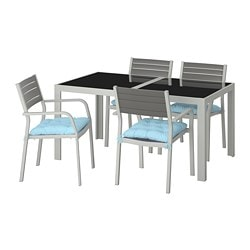 SJÄLLAND table and 4 armchairs, outdoor, glass, Kuddarna blue light blue