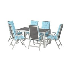 SJÄLLAND table + 6 reclining chairs, outdoor, dark gray, Kuddarna blue light blue
