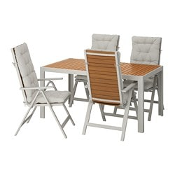 SJÄLLAND table + 4 reclining chairs, outdoor, light brown, Kuddarna gray