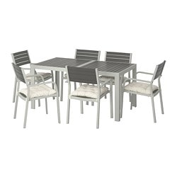 SJÄLLAND table+6 chairs w armrests, outdoor, dark grey, Kuddarna beige