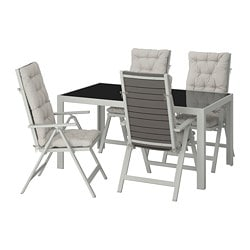 SJÄLLAND table + 4 reclining chairs, outdoor, glass, Kuddarna gray