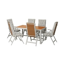SJÄLLAND table+6 reclining chairs, outdoor, light brown, Kuddarna grey