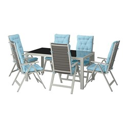SJÄLLAND table + 6 reclining chairs, outdoor, glass, Kuddarna light blue