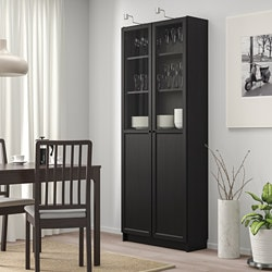 Ikea Libreria Billy Ante.Billy Bookcase With Panel Glass Doors Black Brown Ikea