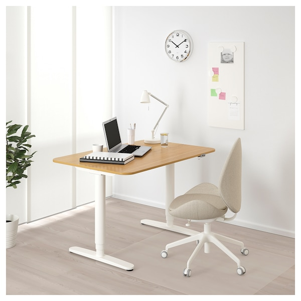 Bekant Desk Sit Stand Oak Veneer White Ikea