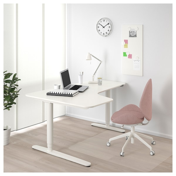Corner Desk Left Sit Stand Bekant White