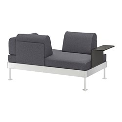 Delaktig Loveseat With Side Table Gunnared Medium Gray