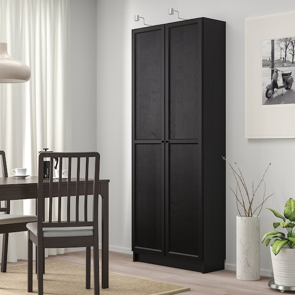 billy b cherregal mit t ren schwarzbraun ikea. Black Bedroom Furniture Sets. Home Design Ideas