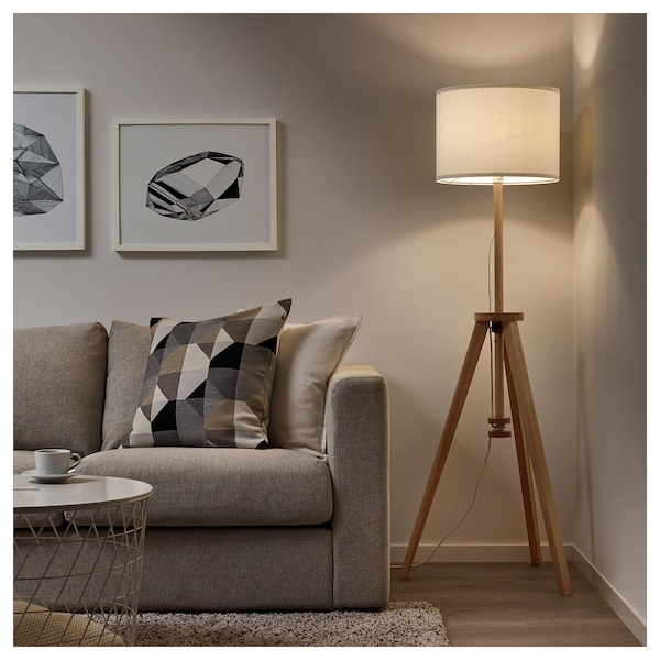 Floor Lamp With Led Bulb Lauters Ash White