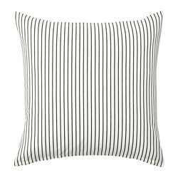 INGALILL cushion cover, white, dark gray stripe