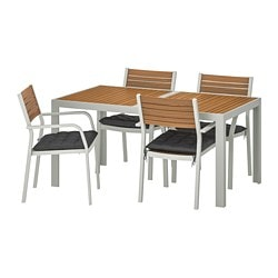 SJÄLLAND table+4 chairs w armrests, outdoor, light brown, Hållö black