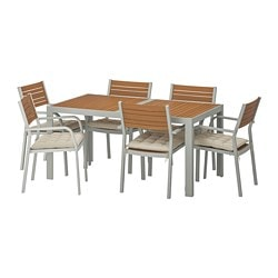 SJÄLLAND table+6 chairs w armrests, outdoor, light brown, Hållö beige