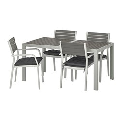 SJÄLLAND table+4 chairs w armrests, outdoor, dark grey, Hållö black