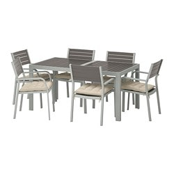 SJÄLLAND table+6 armchairs, outdoor, dark gray, Hållö beige