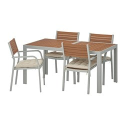 SJÄLLAND table+4 chairs w armrests, outdoor, light brown, Hållö beige