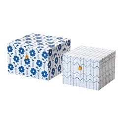 ANILINARE decoration box, set of 2, white, blue
