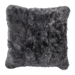 EVALINN cushion cover, sheepskin dark gray
