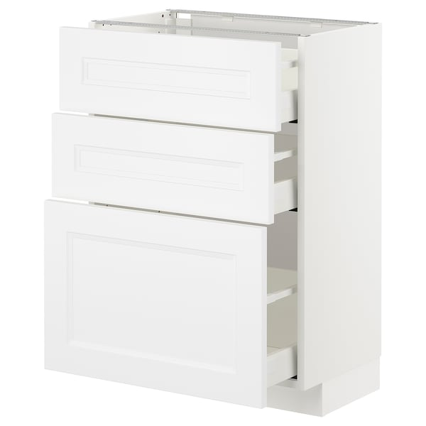 Metod Maximera Base Cabinet With 3 Drawers White Axstad Matt