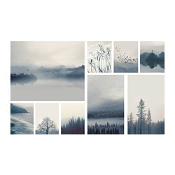 GRÖNBY picture, set of 9, blue landscape