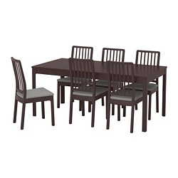 EKEDALEN /  EKEDALEN table and 6 chairs, dark brown, Orrsta light grey