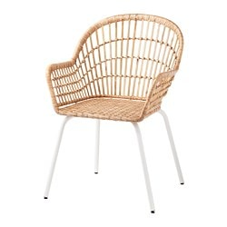 NILSOVE chair with armrests, rattan, white