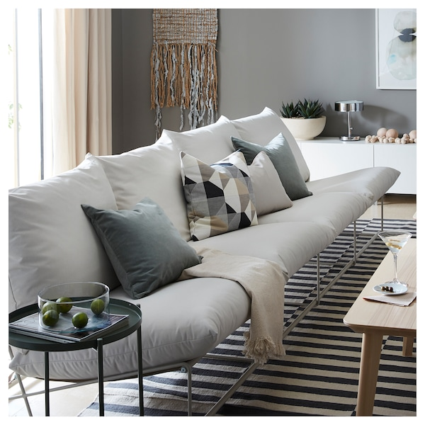 4-seat sofa, in/outdoor HAVSTEN without armrests with open end, beige
