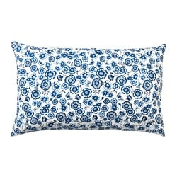 SÅNGLÄRKA cushion, flower, blue white