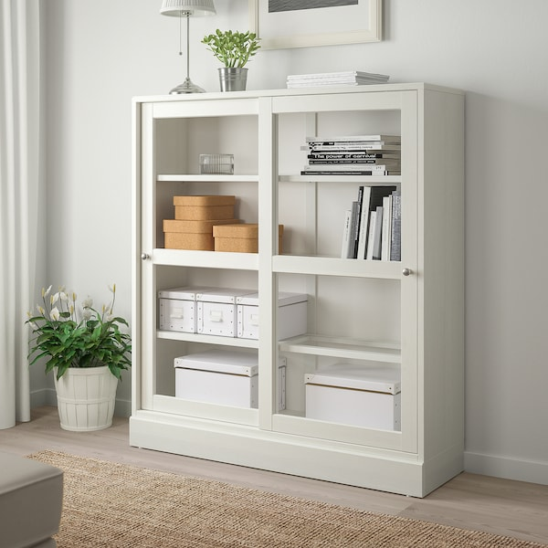 HAVSTA Glass-door cabinet with plinth - white clear glass ...